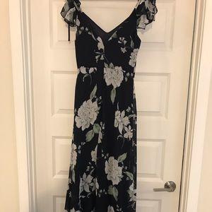 Lulus Navy Blue Floral Print Maxi Dress